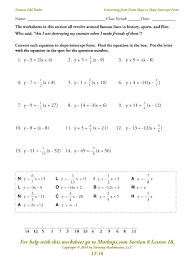slope of a line worksheets lf 18 converting from point slope to slope intercept form mathops