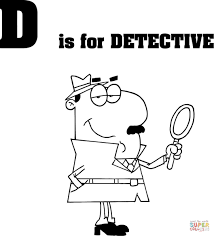 letter d is for detective coloring page free printable coloring