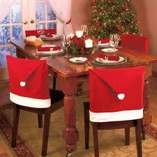 Esszimmer St Le Ohne Lehne 4 Stück Weihnachtsdeko Stuhlhussen Weihnachtsmann Hut Weihnachten