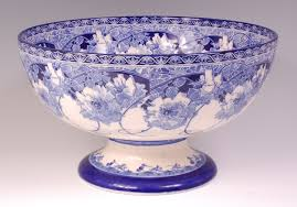 Pedestal Punch Bowl A Royal Doulton Pedestal Punch Bowl Of Good Size Blue And White