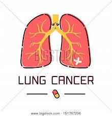 Cartoon Human Anatomy Lung Cancer Awareness Poster With Sad Cartoon Lungs Character On