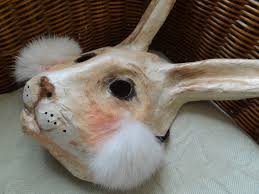 paper mache bunnies in paper mache rabbit mask bunny by miesmesaberni