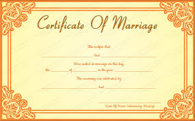 orange frame wedding certificate template