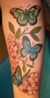 butterflies and cherry blossoms by blackstartattoo on deviantart