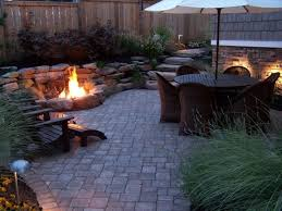 Small Backyard Ideas No Grass Gas Pit In Front Of A Waterfall Both Passing Through A