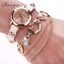 bracelet chain watches images Duoya watches women brand gold heart leather wristwatches women jpg