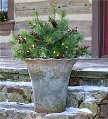 lighted urn filler greenery plow hearth