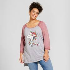 s plus size peanuts snoopy lights graphic t shirt