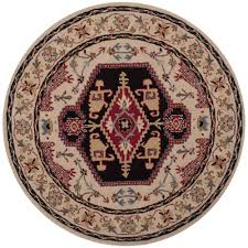 Black Round Area Rugs by Safavieh Porcello Black Multi 5 Ft X 5 Ft Round Area Rug Prl6845