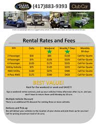 rental clearcreek vehicles new and used club car golf carts