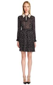 boutique moschino polka dot silk dress with detachable pearl