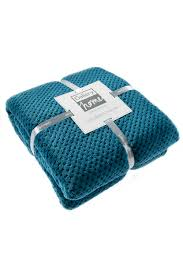 large supersoft waffle fleece throw teal bhs
