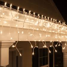 bright clear icicle lights white wire on