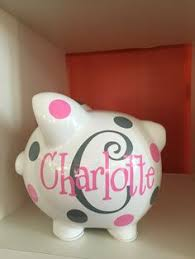 monogram piggy bank personalized piggy bank kids piggy bank baby shower gift baby