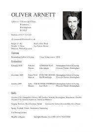 Sample Beginner Acting Resume by Theatre Acting Sample Resume Acting Resume Template For Microsoft