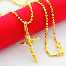 aliexpress cross necklace images Real men 39 s 24k jewelry beads chain 24k gold plated jesus cross jpg