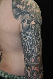 black and gray fish water sleeve and chest by brandon