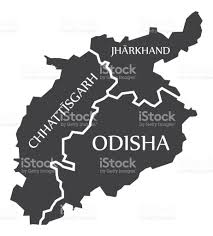 chhattisgarh jharkhand odisha map illustration of indian states
