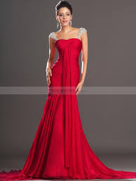 evening gowns jewelled straps draped chiffon mermaid evening dress