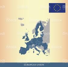 European Union Map European Union Map And Flag Outline Vector Stock Vector Art