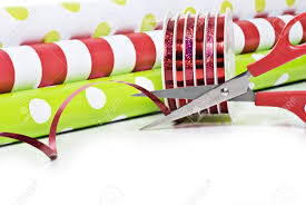 rolls of wrapping paper rolls of gift wrapping paper and rolls of ribbon stock photo