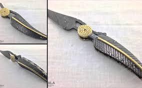 cutwala damascus steel leaf folding knife cdf 100 youtube