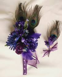 royal blue boutonniere purple peacock bouquet royal blue budget bouquet boutonniere set