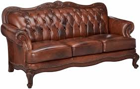 Leather Button Sofa Brown Genuine Leather Button Tufted Sofa Carved Wood