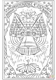 hurrah independence 4th july postcard coloring page free