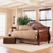 Wood Daybed With Pop Up Trundle Furniture Brown Stained Wood Daybed With Trundle Having Brown