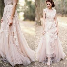 dusty wedding dress blush pink dusty appliqued lace wedding dresses country style