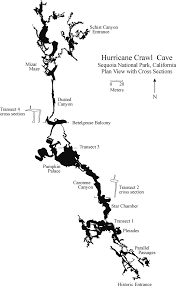 plan view map of hurricane crawl cave showing locations of