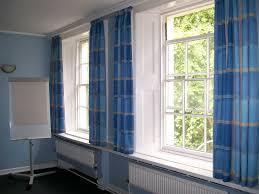 Blue Plaid Curtains Blue Plaid Patern Canvas Curtain On White Stained Wooden Frame 9