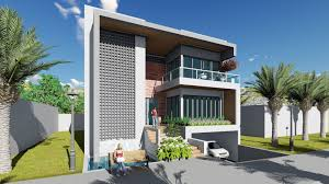 how to draft front villa design using sketchup and lumion render