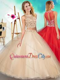 simple quinceanera dresses two see through scoop simple quinceanera dress with beading