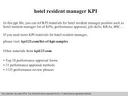 hotel resident manager kpi