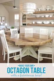 hexagon shaped kitchen table diy octagon dining room table with a farmhouse base make it and