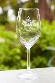 set of 2 logo white wine glasses mauiwine store