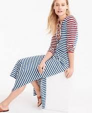 j crew xxs nautical stripe maxi dress long cotton red white blue