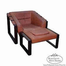 Chair W Ottoman Percival Lafer Mid Century Modern Rosewood Frame Leather Lounge