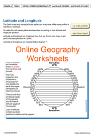 grade 8 online geography worksheets latitude and longitude for
