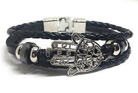 hand bracelet men images Hamsa hand leather bracelet for men black jewelry jpg