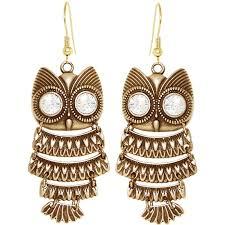 owl earrings nickel free articulated owl earrings swarovski