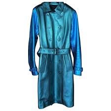 turquoise leather burberry coat vestiaire collective