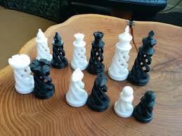 3d printed spiral chess set large by bigbadbison pinshape