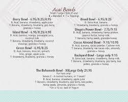Backyard Restaurant Menu Backyard Bowls Santa Barbara Breakfast Health Food Restaurants