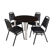 Break Room Table And Chairs by Kee 42 Inch Round Chrome Breakroom Table With 4 Black Restaurant