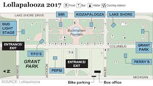 Map Of Chicago Suburbs Lollapalooza Map Of Grant Park Chicago Tribune