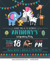 many stock birthday party invitation card vector creation animals birthday party invitation card stock vector 449911849