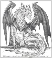canadian dragon fantasy art original pencil dragon drawing